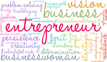 Entrepreneur word cloud on a white background.