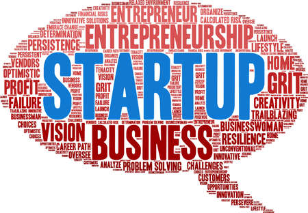 Startup word cloud on a white background. Çizim