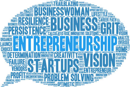 Entrepreneurship word cloud on a white background.