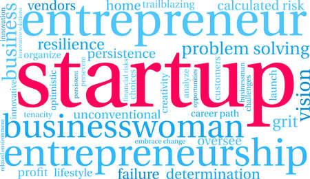 Startup word cloud on a white background. Illustration