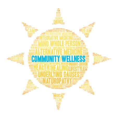Gemeinschaft Wellness-Wortwolke auf weißem Hintergrund. Vektorgrafik