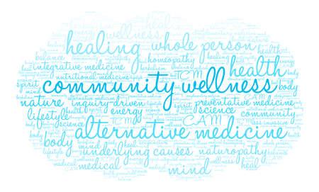Gemeinschaft Wellness-Wortwolke auf weißem Hintergrund.