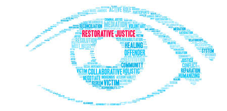 Restorative Justice word cloud on a white background. Illusztráció