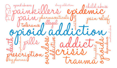Opioid Addiction word coud on a white background.