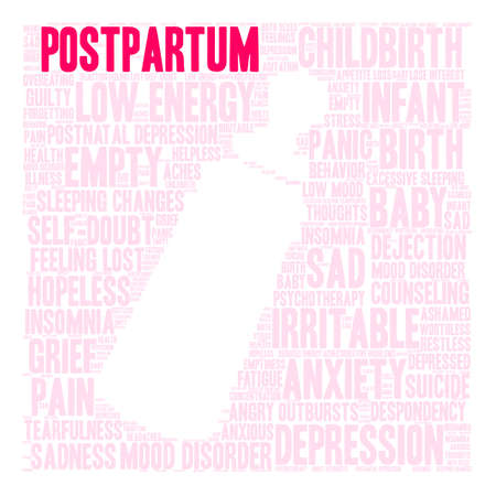 Postpartum word cloud on a white background. Stock Vector - 118464017