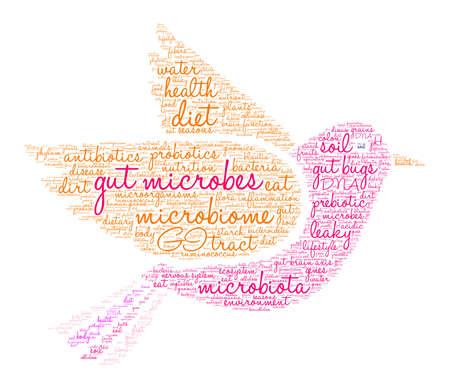 Mikroby jelitowe słowo cloud na białym tle. Ilustracje wektorowe
