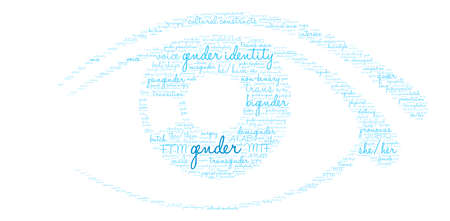 Gender word cloud on a white background.