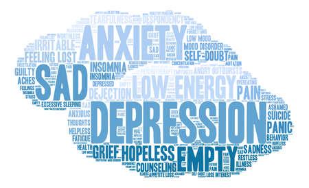 Depression word cloud on a white background. Ilustracje wektorowe