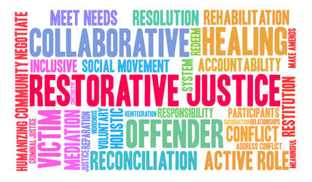 Restorative Justice word cloud on a white background. Stok Fotoğraf - 119103267