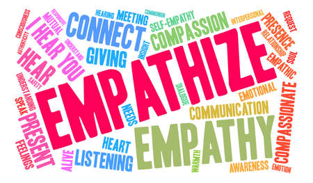 Empathize word cloud on a white background. Vettoriali