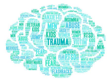 Trauma nube de palabras sobre un fondo blanco. Ilustración de vector