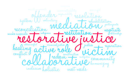Restorative Justice word cloud on a white background. Stock Vector - 119154243