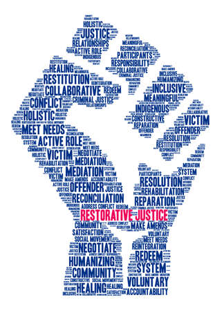 Restorative Justice word cloud on a white background. Illustration