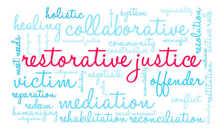 Restorative Justice word cloud on a white background. Çizim