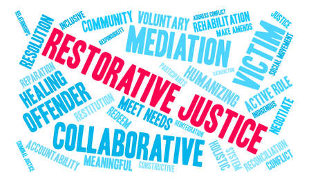 Restorative Justice word cloud on a white background. Stok Fotoğraf - 119154761