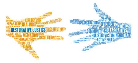 Nube de palabras de justicia restaurativa sobre un fondo blanco. Ilustración de vector