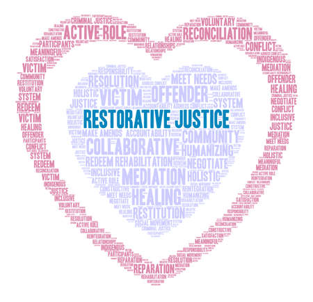 Restorative Justice word cloud on a white background. Stock Illustratie
