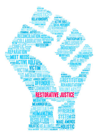 Restorative Justice word cloud on a white background. Stok Fotoğraf - 119155250