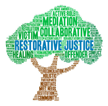 Restorative Justice word cloud on a white background. Standard-Bild - 119155393