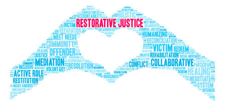 Restorative Justice word cloud on a white background. Stok Fotoğraf - 119155526