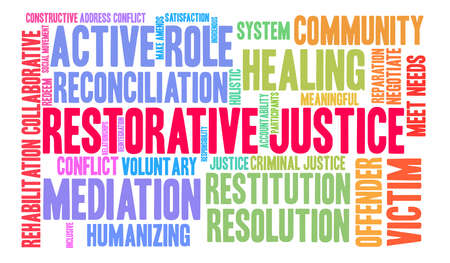 Restorative Justice word cloud on a white background. Standard-Bild - 119155534