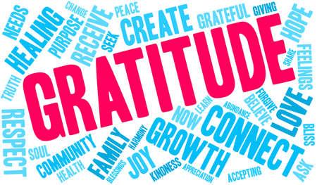 Nuage de mots de gratitude sur un fond blanc. Vecteurs
