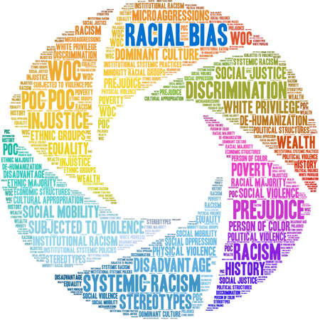 Racial Bias word cloud on a white background. Imagens - 122590245