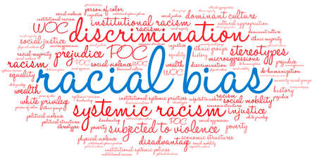 Racial Bias word cloud on a white background.  Stock Illustratie