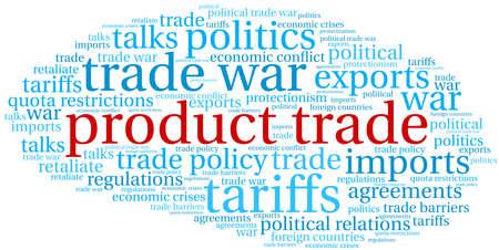 Product Trade word cloud on a white background.  Ilustração