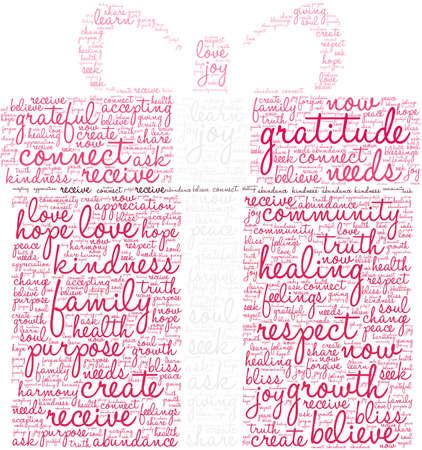 Nuage de mots de gratitude sur un fond blanc.