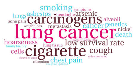 Lung Cancer word cloud on a white background. Stock Vector - 122590324