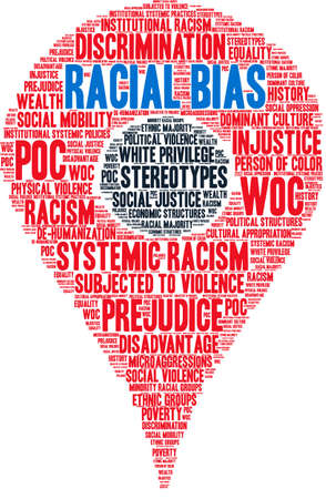 Racial Bias word cloud on a white background.  Illusztráció