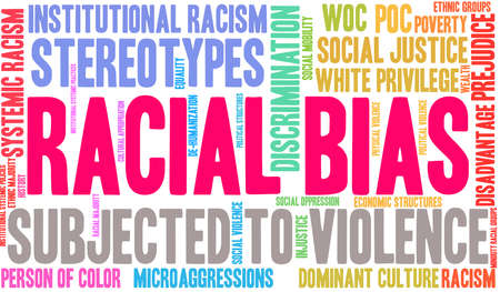 Racial Bias word cloud on a white background.  Ilustração