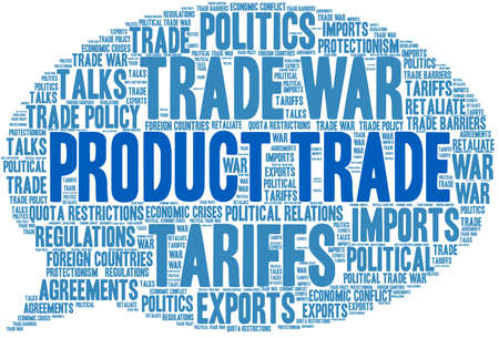 Product Trade word cloud on a white background.  Illustration