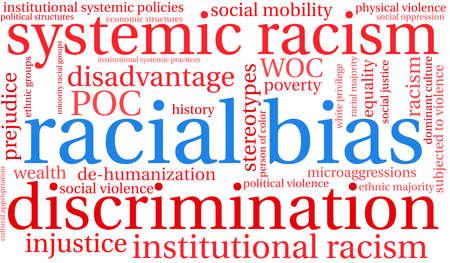 Nube de palabras de sesgo racial sobre un fondo blanco. Ilustración de vector
