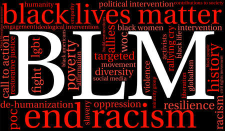 BLM Black Lives Matter는 검정색 배경에 단어 구름입니다.