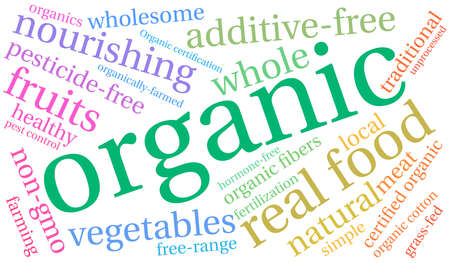 Organic word cloud on a white background. Illustration