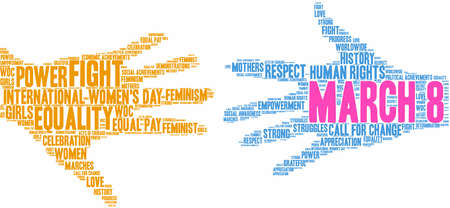 March 8 International Womens Day word cloud on a white background.