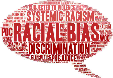 Racial Bias word cloud on a white background. Imagens - 122079491