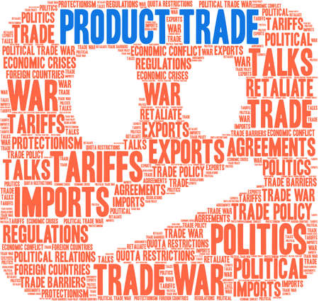Product Trade word cloud on a white background.  Çizim