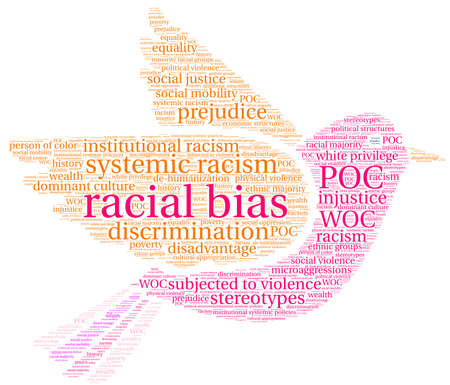 Racial Bias word cloud on a white background.  Vectores