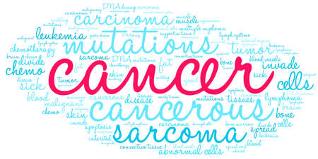 Cancer word cloud on a white background.  Illustration