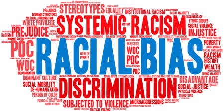 Racial Bias word cloud on a white background.  イラスト・ベクター素材