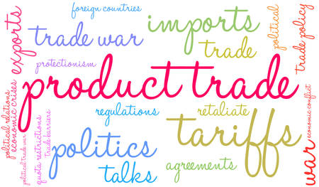 Product Trade word cloud on a white background.  Ilustrace