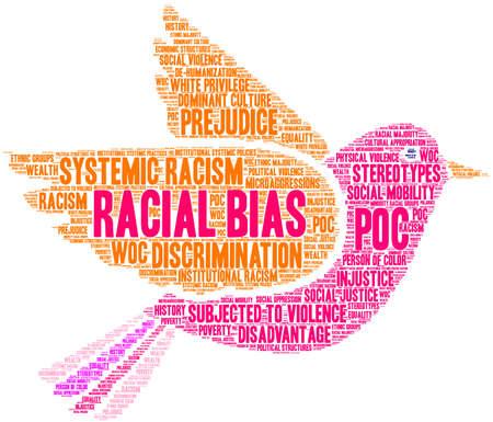 Racial Bias word cloud on a white background.  Ilustração