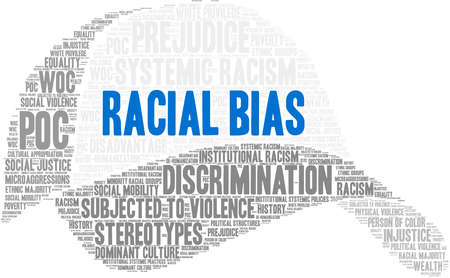 Racial Bias word cloud on a white background.