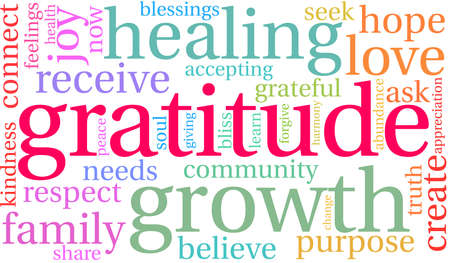 Nube de palabras de gratitud sobre un fondo blanco. Ilustración de vector