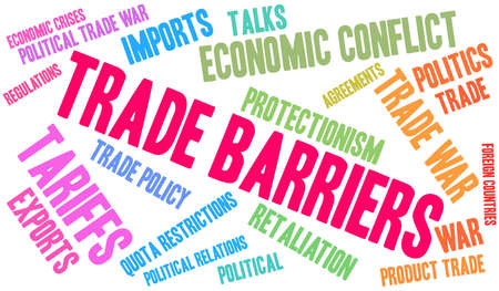 Trade Barriers word cloud on a white background.