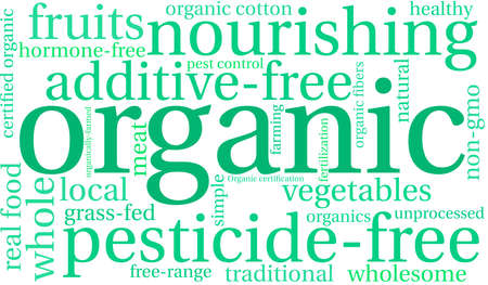 Organic word cloud on a white background. Ilustrace