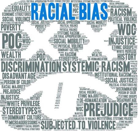 Racial Bias word cloud on a white background. Illusztráció